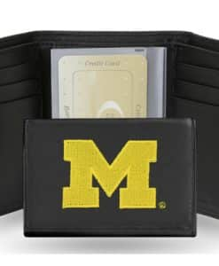Michigan Wolverines Embroidered Leather TriFold Wallet