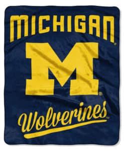 "Michigan Wolverines 50""x60"" Royal Plush Raschel Throw Blanket Alumni Design"