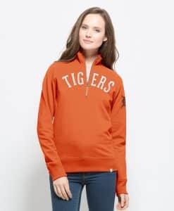 Detroit Tigers 47 Brand Women's Orange Cross Check 1/4 Zip Pullover