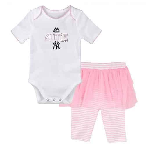 New York Yankees Baby Girls Cutie White Pink Creeper Tutu Leggings 2 Piece Set