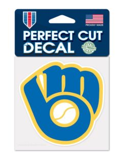 Milwaukee Brewers 4″x4″ GLOVE Perfect Cut Color Decal
