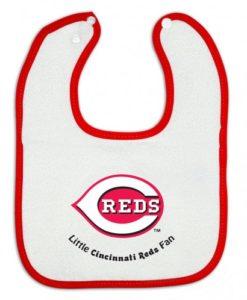 Cincinnati Reds White Red Snap Baby Bib
