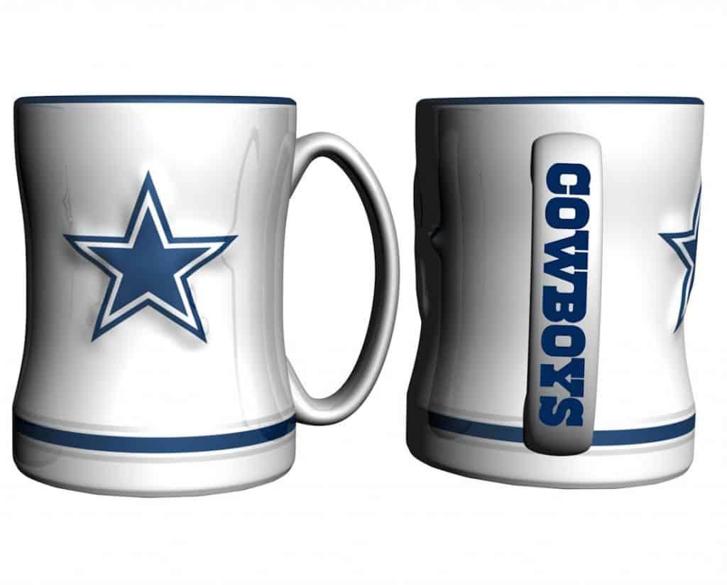 Dallas Cowboys Coffee Mug - 14oz Sculpted, White