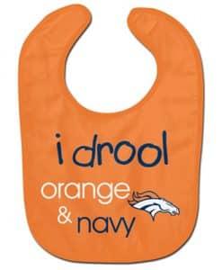 Denver Broncos Baby Bib - I Drool Orange & Blue