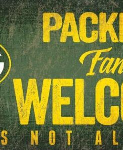 """Green Bay Packers Wood Sign - Fans Welcome 12""""x6"""""""