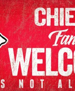 "Kansas City Chiefs Wood Sign - Fans Welcome 12""x6"""