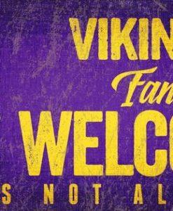 "Minnesota Vikings Wood Sign - Fans Welcome 12""x6"""