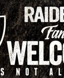 "Las Vegas Raiders Wood Sign - Fans Welcome 12""x6"""