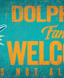 """Miami Dolphins Wood Sign - Fans Welcome 12""""x6"""""""