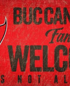 "Tampa Bay Buccaneers Wood Sign - Fans Welcome 12""x6"""