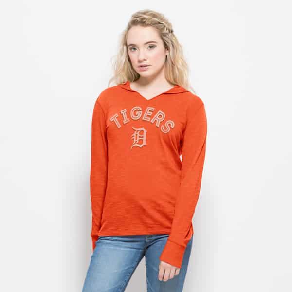 Detroit Tigers Womens Orange Long Sleeve Hooded Shirt