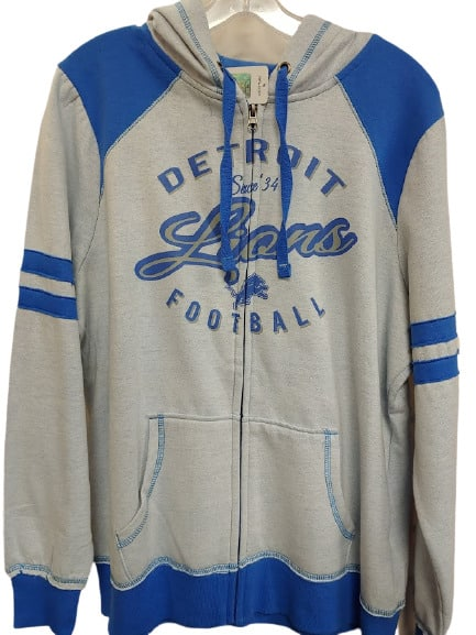 Detroit Lions Women's Vintage Light Gray Full Zip Hoodie