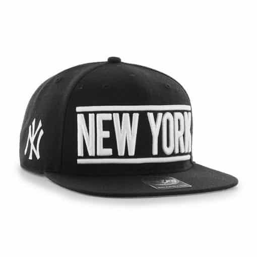 New York Yankees 47 Brand Black On Track Snapback Adjustable Hat