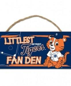 Detroit Tigers Littlest Fan Den Wood Sign
