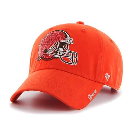 Cleveland Browns Women's 47 Brand Orange Sparkle Clean Up Hat