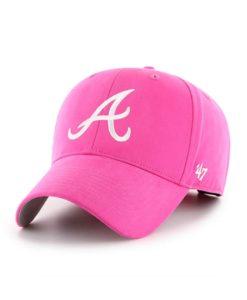 Atlanta Braves YOUTH Girls 47 Brand Bright Pink MVP Adjustable Hat