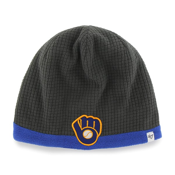 Milwaukee Brewers Grid Fleece Beanie Charcoal 47 Brand YOUTH Hat