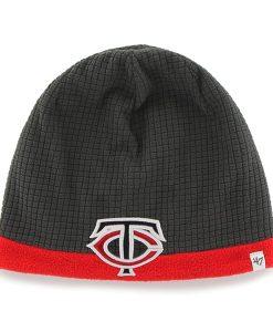 Minnesota Twins Grid Fleece Beanie Charcoal 47 Brand YOUTH Hat