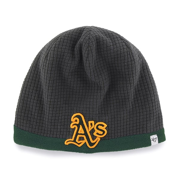 Oakland Athletics Grid Fleece Beanie Charcoal 47 Brand YOUTH Hat