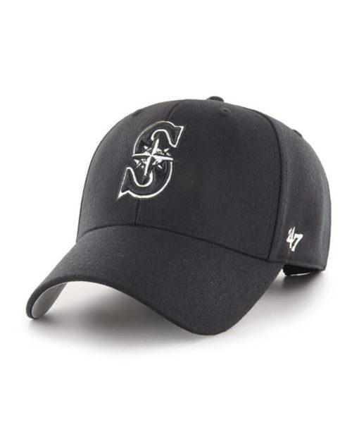 Seattle Mariners 47 Brand Black MVP Adjustable Hat