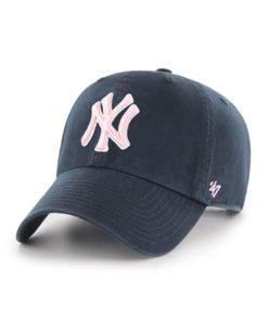 New York Yankees Women's 47 Brand Navy Pink Clean Up Adjustable Hat