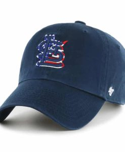 St. Louis Cardinals Red White & Blue 47 Brand Navy Clean Up Adjustable Hat