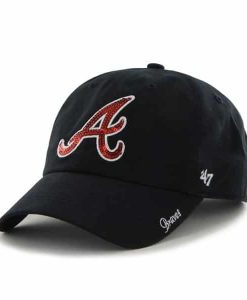 Atlanta Braves Women's 47 Brand Sparkle Navy Team Color Clean Up Hat