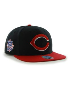 Cincinnati Reds 47 Brand Black Red Sure Shot Snapback Hat
