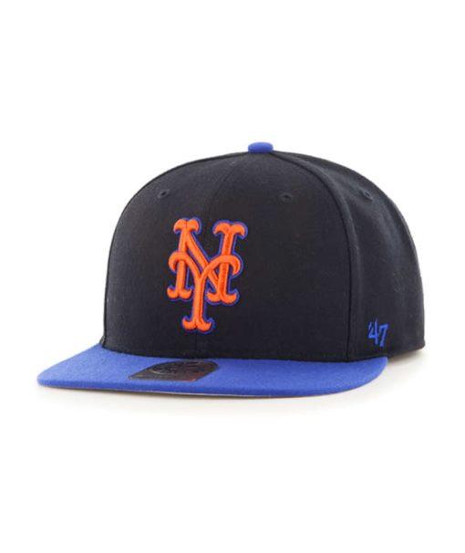New York Mets 47 Brand Black Blue Sure Shot Hat