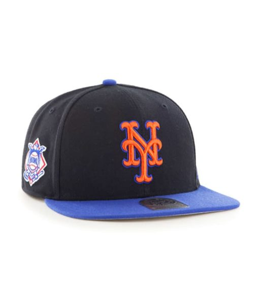 New York Mets 47 Brand Black Blue Sure Shot Snapback Hat