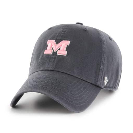 Michigan Wolverines Women's 47 Brand Pink Vintage Navy Clean Up Adjustable Hat