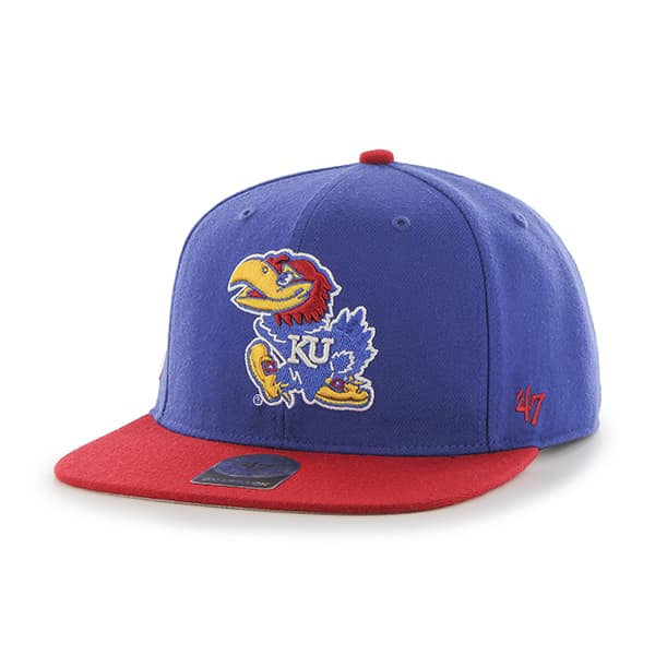 Kansas Jayhawks Sure Shot Two Tone Captain Royal 47 Brand Adjustable Hat