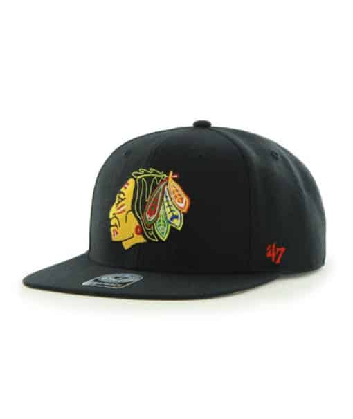 Chicago Blackhawks 47 Brand Black Sure Shot Snapback Adjustable Hat