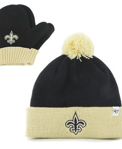 New Orleans Saints INFANT / TODDLER 47 Brand Black Bam Bam Set Cuff Knit Hat
