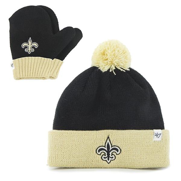 New Orleans Saints INFANT / TODDLER 47 Brand Black Bam Bam Set Cuff Knit Hat