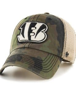 Cincinnati Bengals Burnett Clean Up Frontline Green Camo 47 Brand Adjustable Hat