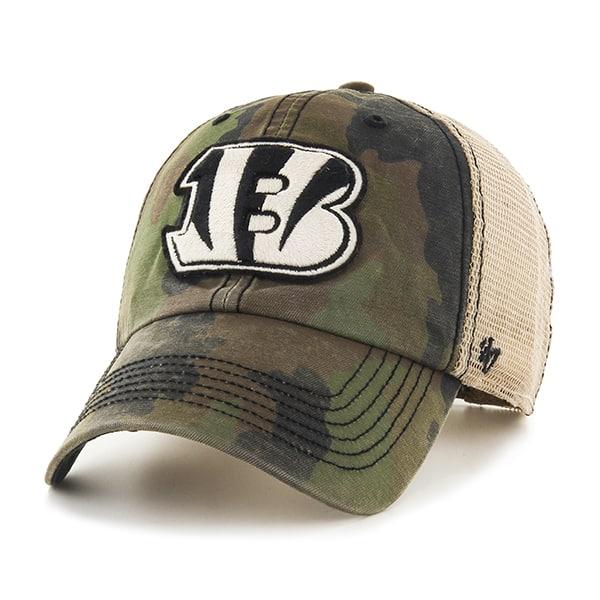 Cincinnati Bengals Burnett Clean Up Frontline Green Camo 47 Brand Adjustable Hat