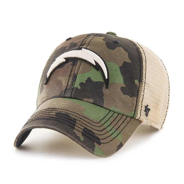 San Diego Chargers Burnett Clean Up Frontline Green Camo 47 Brand Adjustable Hat