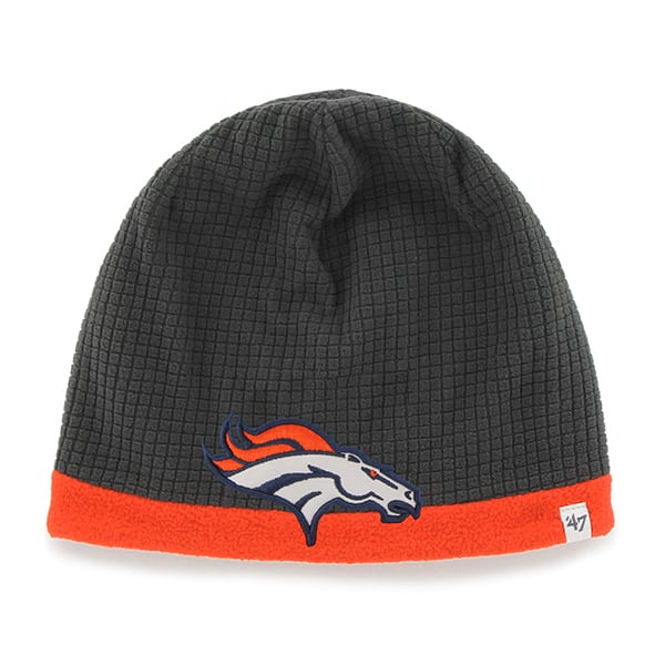 Denver Broncos Grid Fleece Beanie Charcoal 47 Brand YOUTH Hat