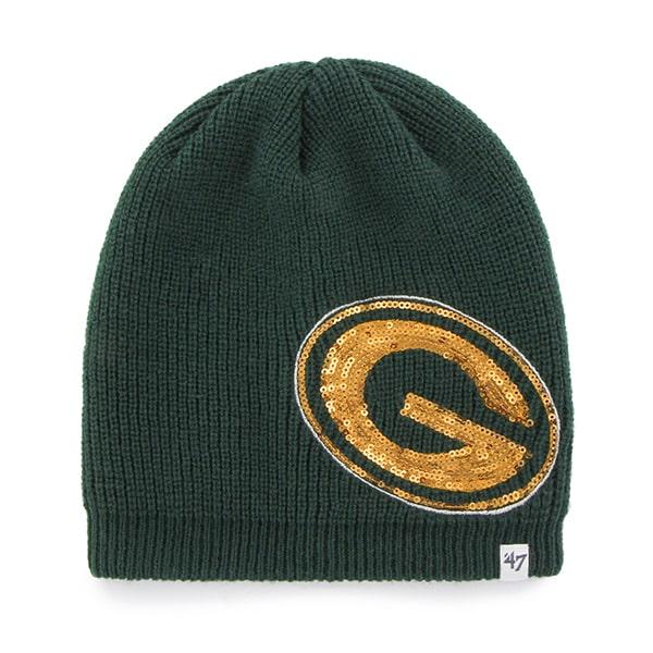 Green Bay Packers Sparkle Beanie Dark Green 47 Brand Womens Hat