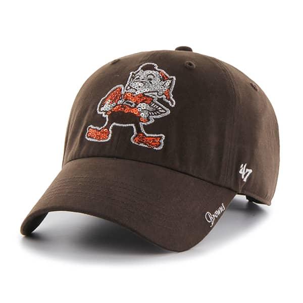 Cleveland Browns 47 Brand Women's Brown Sparkle Clean Up Adjustable Hat