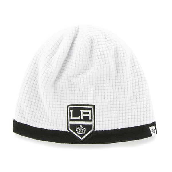 Los Angeles Kings Grid Fleece Beanie White 47 Brand YOUTH Hat