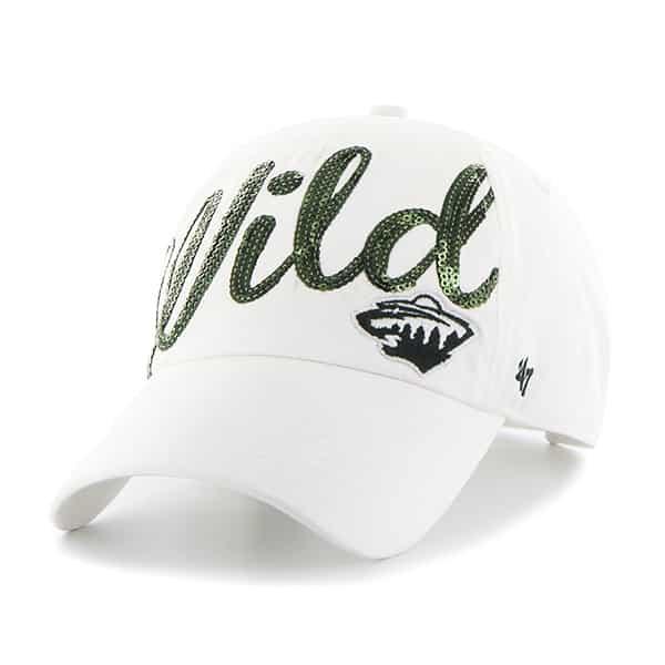 Minnesota Wild Women's 47 Brand Sparkle White Clean Up Adjustable Hat