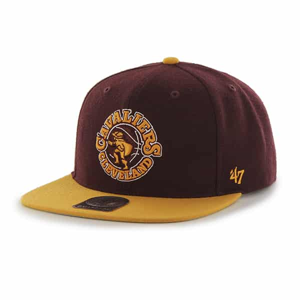 Cleveland Cavaliers Sure Shot Two Tone Captain Dark Maroon 47 Brand Adjustable Hat