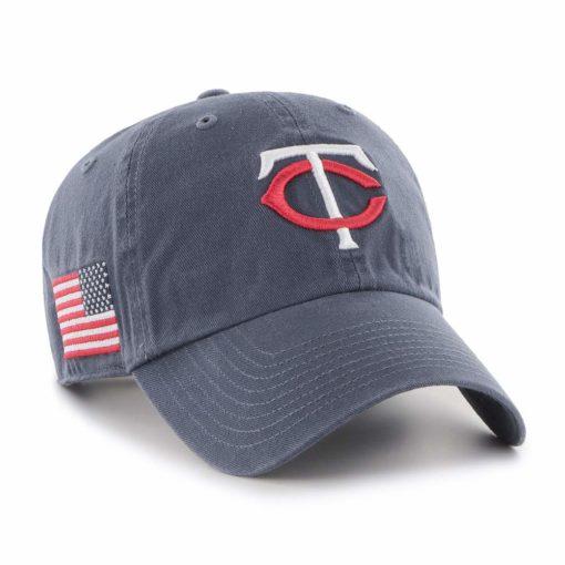 Minnesota Twins 47 Brand Vintage Navy USA Flag Clean Up Hat
