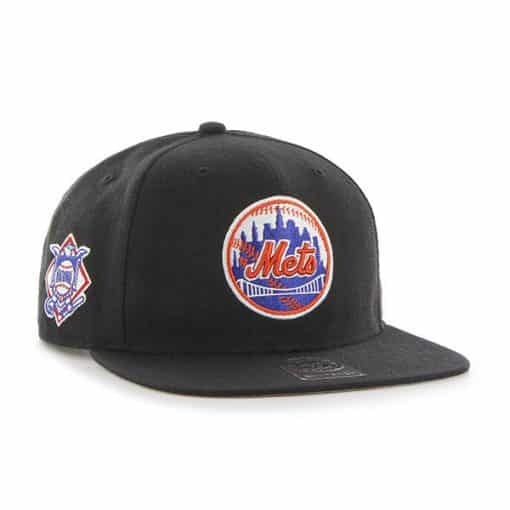 New York Mets 47 Brand Classic Black Sure Shot Snapback Hat