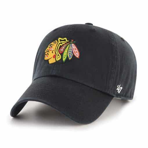 Chicago Blackhawks 47 Brand Black Clean Up Adjustable Hat
