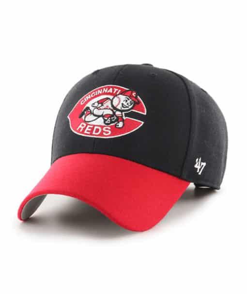 Cincinnati Reds 47 Brand Classic Black Red MVP Adjustable Hat