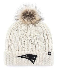 New England Patriots Women's 47 Brand White Cream Meeko Cuff Knit Hat