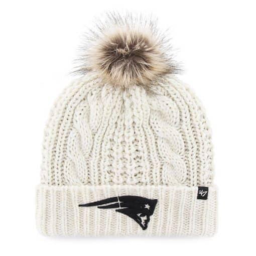 New England Patriots Women's 47 Brand White Cream Meeko Cuff Knit Hat